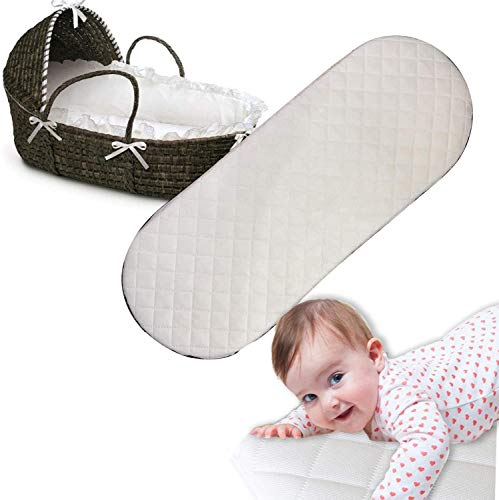 Moses Basket Mattress Oval Shaped Hypoallergenic Bassinet Baskets Baby Foam Mattress Fits Mamas and Papas Mothercare Crib Cot Bed Pram Mattresses Quilted Washable Mattress Cover (76 x 30 x 4)