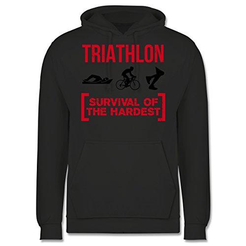 Sonstige Sportarten - Triathlon - Survival of The Hardest - XXL - Anthrazit - JH001 - Herren Hoodie und Kapuzenpullover für Männer