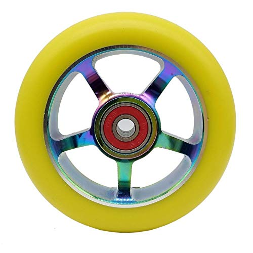 DUBILE Ruedas De Patinete 2 unids aleación de Aluminio 100 / 110mm Truco Scooter Ruedas con rodamiento Kick Scooters Scooter Partes Ruedas reemplazos Accesorios (Color : Yellow PU 100mm)