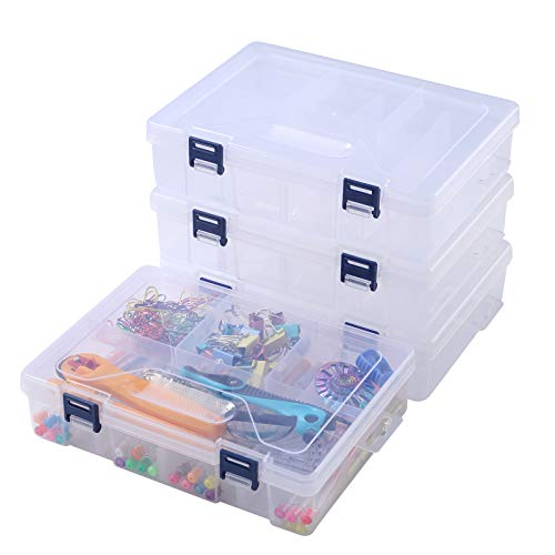 Large School Pencil Box, Adjustable Double Deck Stationery Case Box Writing Drawing Tools Organizer, Durable Pencils Markers Crayons Pens Case Organizer for Office School (4 Pcs, Clear)