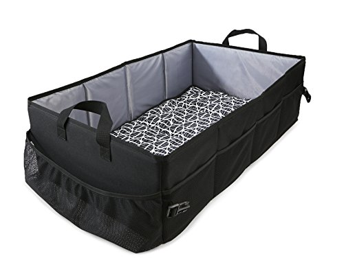 Reste Baby Travel Bed - Sized for Infant Kids - Travel Size Bed is Foldable and Portable and Includes Carrying Bag, Black and Grey