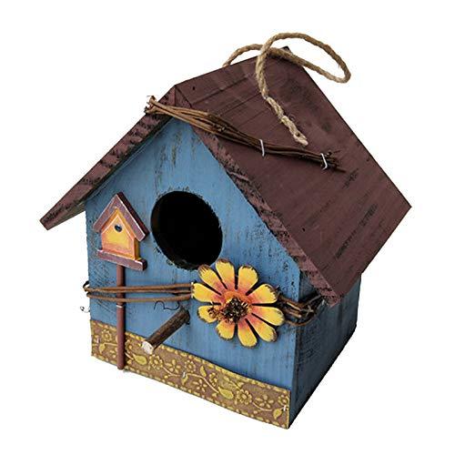 Gazechimp Casas de Madera para Pájaros para Jardín Colgante Exterior Patio Casas Decorativas para Pájaros Casita para Pájaros Pintada a Mano Al Aire Libre - Azul, Individual