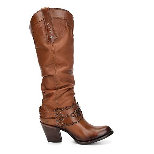 [Cuadra] ファッションカウガール女性用ブーツby ゴールデンカラー–牛革レザー–ハンドメイド–サイズは6から9.5 カラー: ゴールド