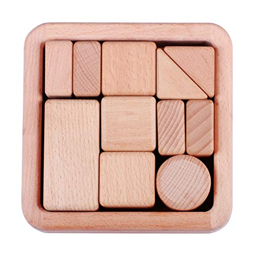 Best Review Of 11 Large Piece Wooden Building Blocks Set,Childrens Construction Wood Toy for 3-6 Yea...