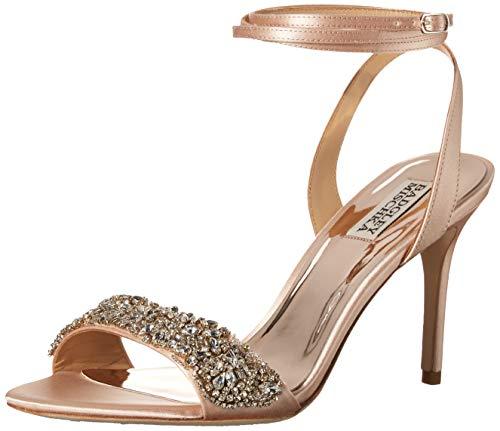 Badgley Mischka Women's JEN Heeled Sandal, Seashell Satin, 8.5 M US
