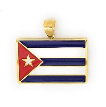 14kt GP Cuba Flag Stainless Steel & Gold - Bandera De Cuba Dije Oro Acero Quirurgico