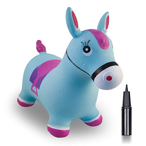 Joyhalo Bouncy Horse for Toddlers - Bouncing Horse Hopper, Ride on Animal Toys for 2, 3, 4, 5, 6 Year Old Girls Boys, Inflatable Horse Gifts with Pump