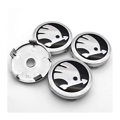 Without Radkörper Kappen Nabenkappen für Räder Silber oder grün 4ST 56mm und 60mm + ABS-Kunststoff Aluminium Radmitte Abdeckung Abzeichen und Nabenabdeckung, geeignet for Skoda- CITIG (Color : Y1)