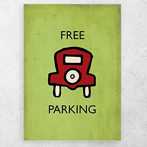 AZTeam Darmowy parkingowy plakat monopol tło obraz zdjęcia drukowane na płótnie plakat dekoracyjny wystrój domu - 50 x 70 cm bez ramki