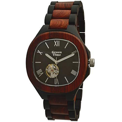 GREEN TIME BY ZZERO: OROLOGIO uomo AUTOMATICO in legno SANDALO, ZW073B. Misura cassa 43 mm.