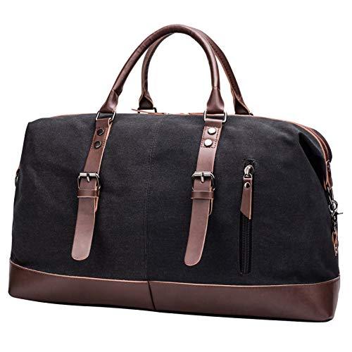 Grande Bolsa de Viaje Mujer Bolsa Fin de Semana Hombre Lona Bolsas de Deporte Duffle Bag Bolso Bandolera Ideal para Viajes de Negocios Gimnasio, Negro