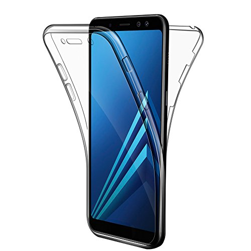Leathlux Étui de protection complet du corps à 360 degrés pour Samsung Galaxy A8 2018 Transparent