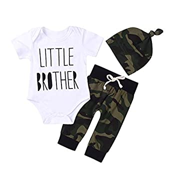 3Pcs Baby Boys Little Brother Camouflage Romper Tops+Pants Leggings+ Hat Outfits Set  White&Camouflage 0-6m Tag70