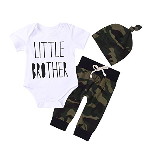 3Pcs Baby Boys Little Brother Camouflage Romper Tops+Pants Leggings+ Hat Outfits Set...