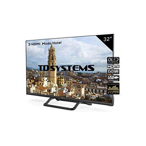 "TD Systems K32DLM7H - Televisor LED de 32"" (HD, 3X HDMI, VGA, USB Reproductor y Grabador) Color Negro"