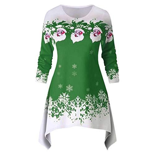 Lazzboy Weihnachtsfrauen Langarm Weihnachtsmann Schneedruck Weihnachtskleid Kapuzenpullover Damen Weihnachtspullover Pullis Christmas Pullover Kleider(Grün,L)
