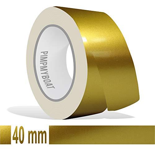 Siviwonder Zierstreifen Gold metallic Glanz in in 40 mm Breite und 10 m Länge für Auto Boot Jetski Modellbau Klebeband Dekorstreifen