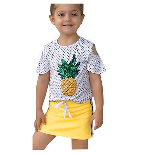 TOPKEAL Mädchen Baby Kleidung Sets Polka Dot Pailletten T-Shirt und Rock Set Sommer Kleinkind Babyset Kleidung Outfits (Gelb, 110)