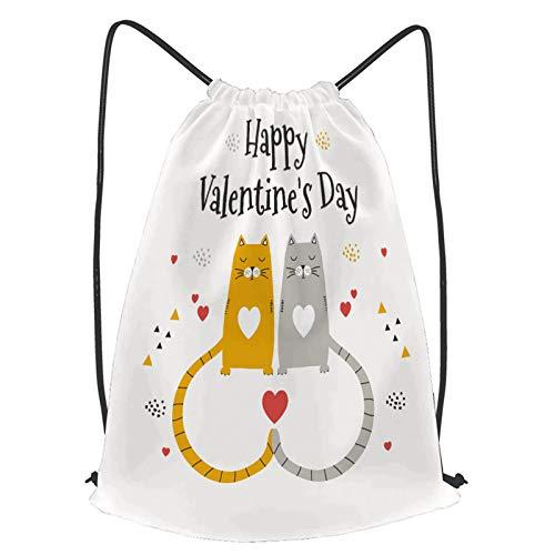 fudin Impermeable Bolsa de Cuerdas Saco de Gimnasio los gatos aman el diseño del cartel del día de san valentín Deporte Mochila para Playa Viaje Natación