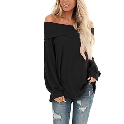 Fantastic Prices! NANTE Top Loose Women's Blouse Solid Color Off Shoulder Baggy T Shirt Women Tops W...