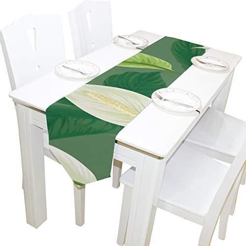 Generies Gym Einkaufstasche für Frauen Weiß Grün Retro Blumenblatt Stoffbezug Tischläufer Tischdecke Küche Esszimmer Wohnkultur Innen 13x90 Zoll Tote Large