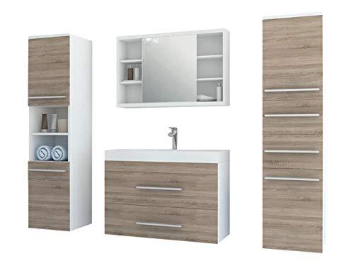 Modernes Badmöbel Set Milo mit Spiegelschrank, Waschbeckenschrank, Schrank mit Nische, Waschbecken, Siphon, Badezimmer, Möbel Waschplatz (Weiß/Eiche Sonoma)