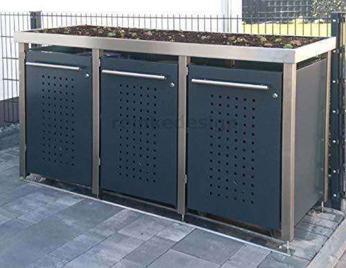 Edelstahl Mülltonnenbox mit Pflanzenwanne für 3 Tonnen (240L und 2x120L) (MW323RF) Antrazit, Mülltonnenverkleidung, Mülltonnenhaus