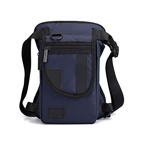 Bolsa de hombro para hombre, de Oxford/Nylon/lona, con cintura y cinturón para montar en motocicleta y muslos militares, Blue Nylon B,