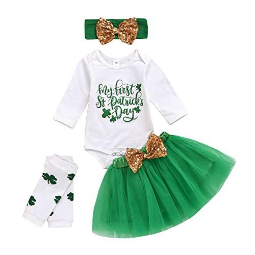 Neugeborenen Babys St.Patrick's Day Strampler Tutu Rock Beinlinge Outfits