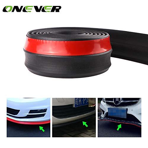 2,5m / 8,2ft Universal bil stötfångare Protectoer Car Front Lip Spoilers 60mm Breddgummi Exteriör Bumper Lip Strip Car Side Kjolar