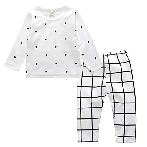 Ensemble de Pyjama en Coton Little Kids Boys pour Filles Vêtements de Nuit géométriques à Manches Longues Ensemble de vêtements de Nuit 2 pièces(D,6-12 Mois)
