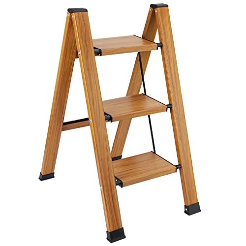 Synlyn Sgabello scaletta pieghevole 3 gradini scaletta in legno gradino pieghevole gradini pieghevoli in alluminio scaletta di sicurezza stabile fino a 200 kg scala domestica per casa, ufficio
