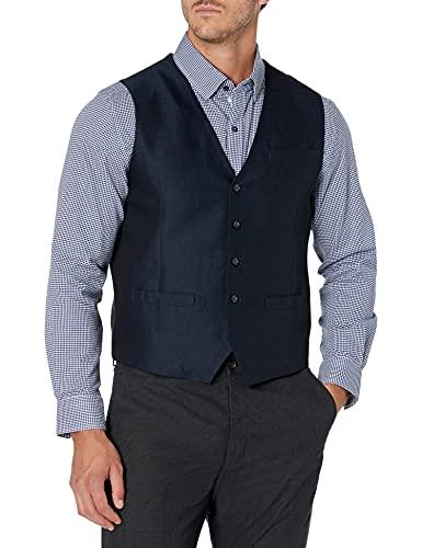 Perry Ellis Men's Linen Suit Vest Suit, -Navy-4ESV4417, Extra Large