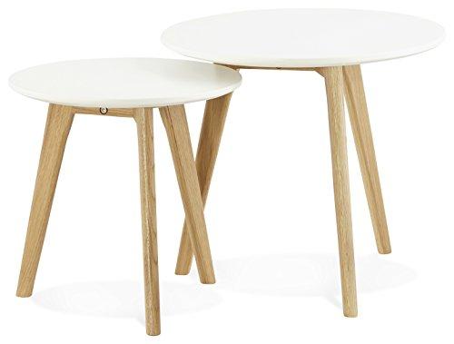 Kokoon ESPINO Table à Diner Design en, Chêne, Blanc, 50x50x45 cm