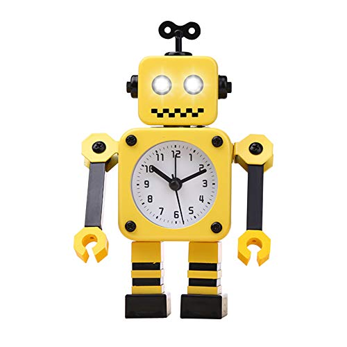 Diskary Roboter Wecker,Nicht tickende Wecker mit blinkenden Augen Lichtern und drehbarem Arm,Geschenk an Kinder (Gelb Schwarz)