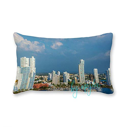 happygoluck1y Skyscrapers In Cartagena Colombia Canvas Rectangle Cushion Covers 30x50 Rectangle Cushion Covers Pillow Case for Living Room Farmhouse Sofa Decor