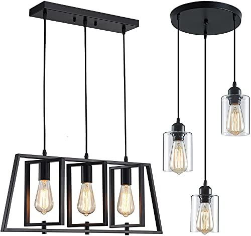 ZHU YAN Modern Industrial 3-Light Pendant Lighting for Kitchen Island,Matte Black Metal Farmhouse Hanging Pendant Light Open Linear Hanging Light Adjustable Height for Dinning Room Foyer