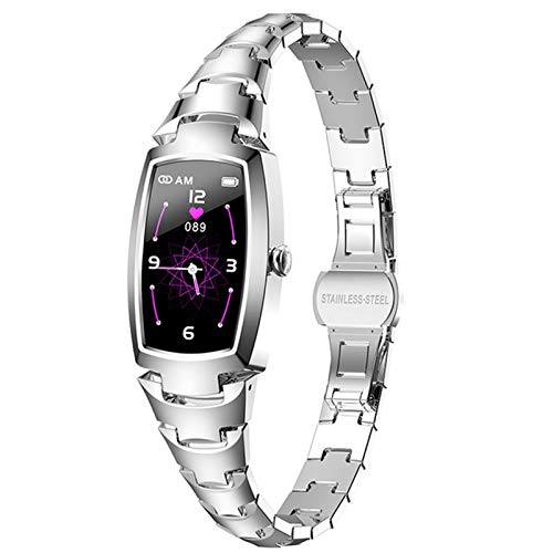 LJMG Reloj Inteligente, Monitor De Ritmo Cardíaco para Mujeres, Moda H8pro, para Android iOS Pulsera De Fitness Mujeres Smartwatch IP67 Impermeable,A