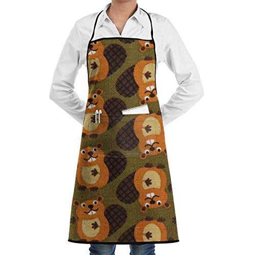 Beaver.JPG Grill Aprons Kitchen Chef Bib Professional for BBQ Baking Cooking for Men Women Pockets