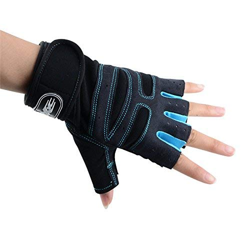 LALA LIFE Half Finger Neoprene Gloves for Weightlifting, Gym, Power Lifting and Fitness (Blue, Medium)