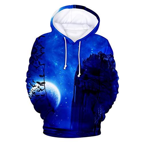 Halloween 3D Printing Long-Sleeved Loose Plus Velvet Casual Hooded Sweater