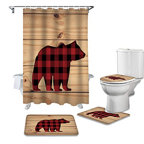 Cloud Dream Home 4 Pcs Shower Cuatain Sets with Non-Slip Rug Red Grid Bear Toilet Lid Cover Bath Mat Wooden Board 72 x 72 inch Shower Curtain with Hooks for Bathroom -Small