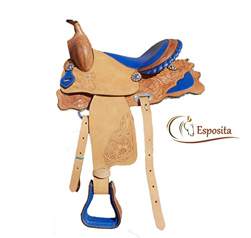 Esposita Westernsattel Prince für Pony und Shetty echtes Leder in Blau 12