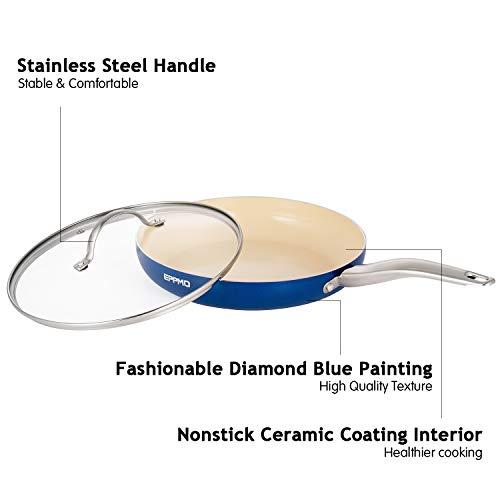 EPPMO 26 cm Sartén Cerámica Ecológica con Tapa sin PFOA, Sartén Inducción Azul para Lavavajillas y Horno, Apta para Todo Tipo de Cocinas, Color de Azul Diamante