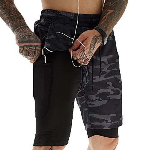 LaiYuTing Pantalones Cortos para Correr Hombres Fitness Gym Training Pantalones Cortos Deportivos Entrenamiento De Secado RáPido Gym Sport Jogging Double Deck Men Shorts