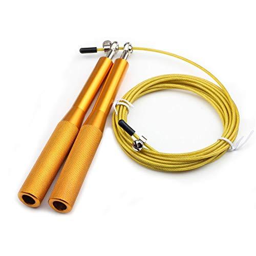KOLOSM Cuerda para Rodamiento Saltar Cuerda Ejercicio Ejercicio Entrenamiento Entrenamiento luz Saltar Cuerdas Velocidad de Metal Gimnasio Entrenamiento para niños Equipo (Color : Gold)