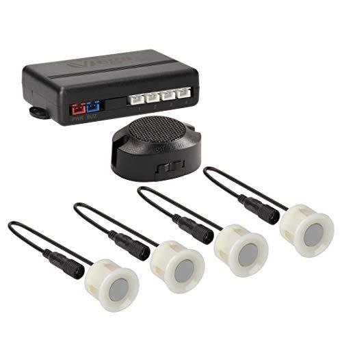 VSG24 22114 – Premium Einparkhilfe Set, Akustisches Signal, Park System inkl. 4 Sensoren & Lautsprecher, e13-Zulassung, Automatisch, Hinten - Unlackiert