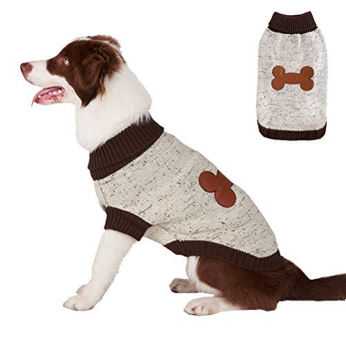 BINGPET Turtleneck Dog Sweater Brown Bone Pattern, Puppy Winter Warm Cloth for Small Medium Large Dogs