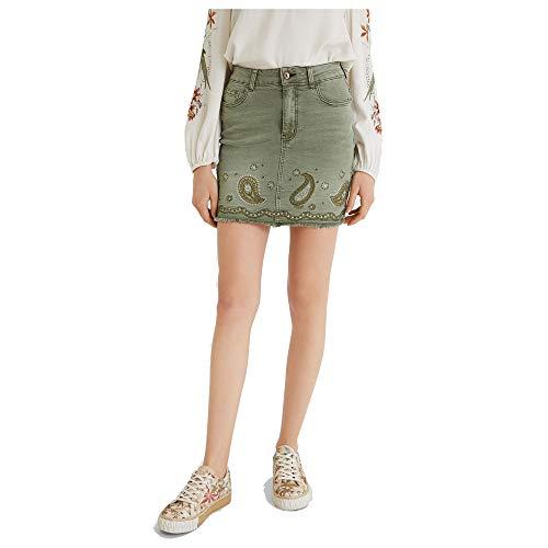 Desigual Fal_Billi Jeans Falda, Verde, 36 para Mujer