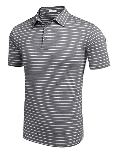 COOFANDY Men's Performance Polo T-Shirts Striped Polo Shirts Lightweight Golf Shirts (Dark Grey,Large)